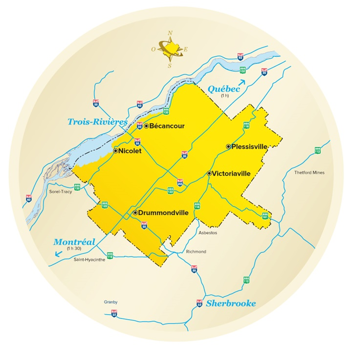 Cities and towns in Centre-du-Quebec